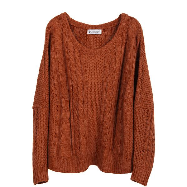 Coffee Batwing Long Sleeve Pullovers Sweater (35 BRL) ❤ liked on Polyvore featuring tops, sweaters, shirts, jumpers, coffee, long sleeve sweater, long sleeve tops, batwing sweater, loose shirts and brown long sleeve shirt