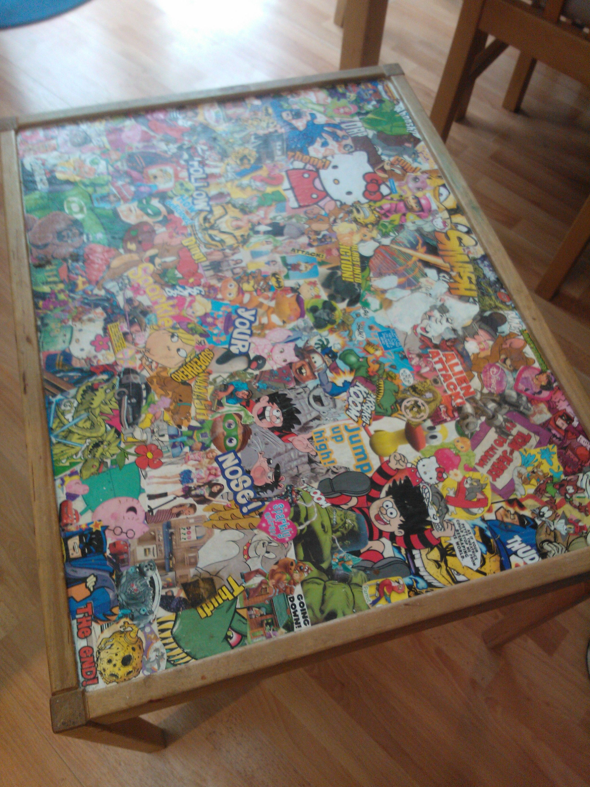 decoupage ideas for furniture. use children\u0027s magazines to decoupage and upcycle a table, fun do with your children ideas for furniture