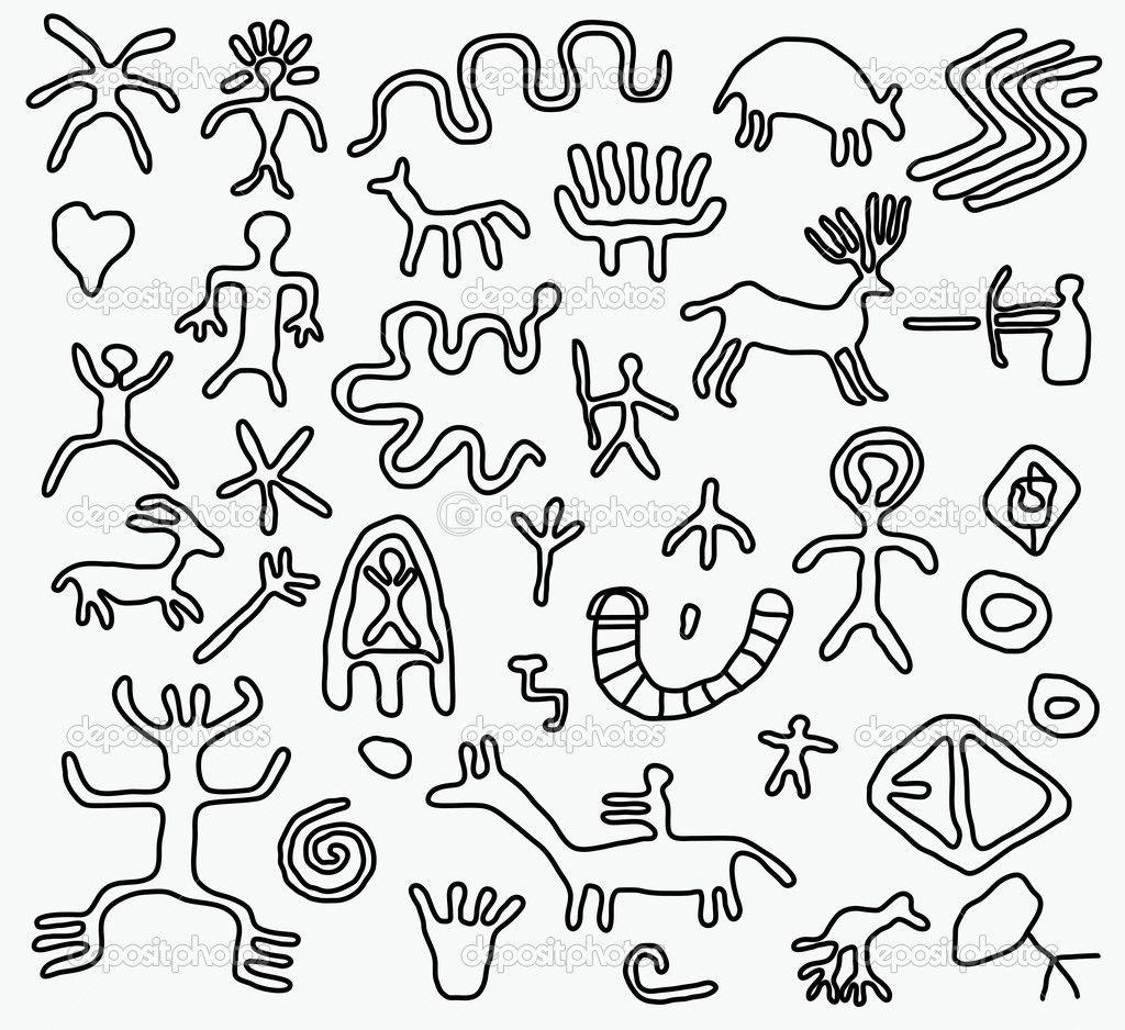 Vector ancient petroglyphs stock vector dmitry merkushin illustrations biocorpaavc Image collections
