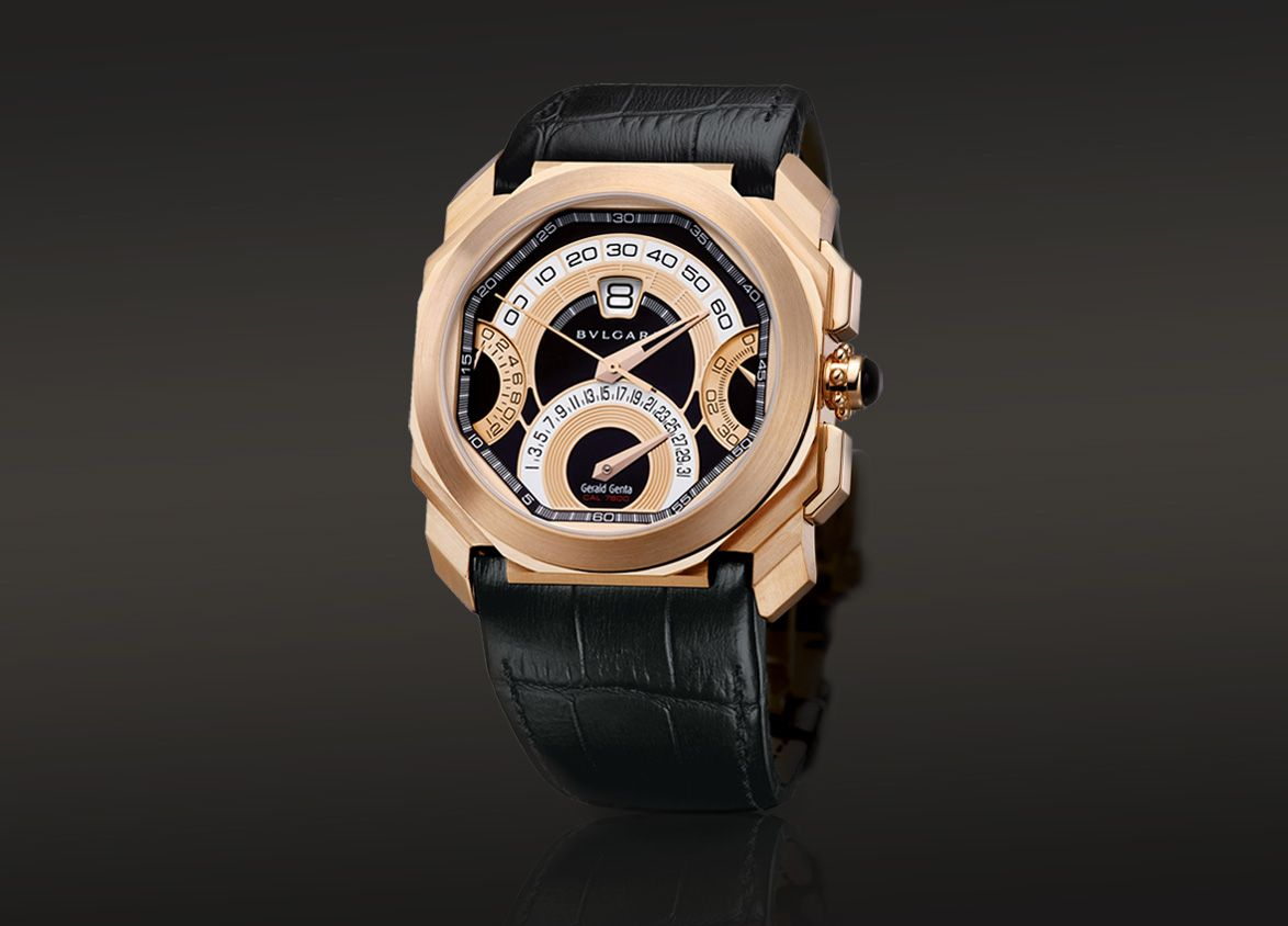 OCTO CHRONOGRAPHE QUADRI-RETRO, retrograde minutes, date and chrono counters, automatic watch with an 18kt pink gold case.