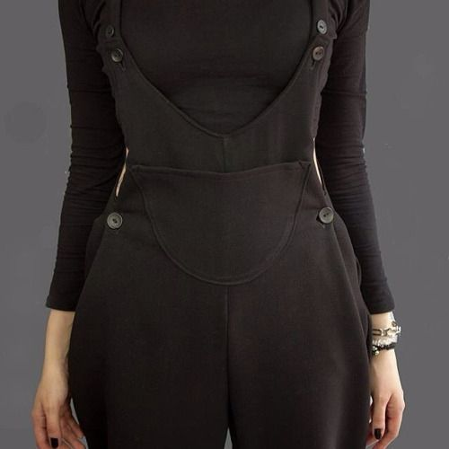 Button up pleats in dungarees gives a delightful shape and texture. #fashion #summer #pleats #buttons