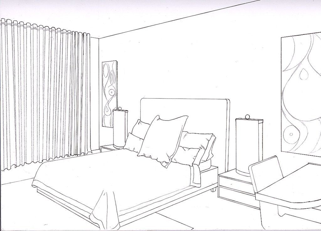 One Point Perspective Bedroom Interior Design Drawings Drawing Interior Perspective Drawing