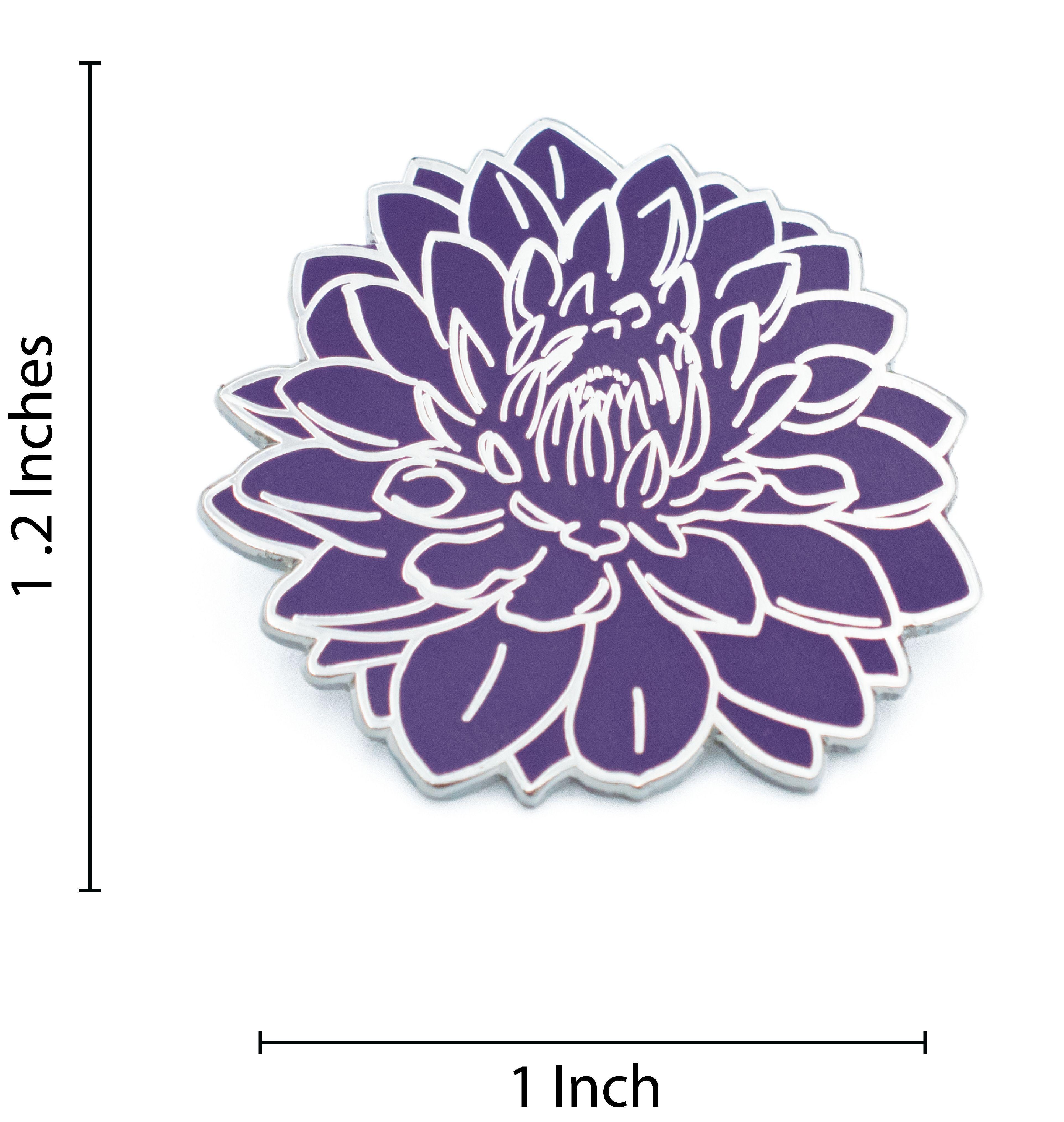 Dahlia Flower Hard Enamel Pin Products Pinterest Purple Dahlia