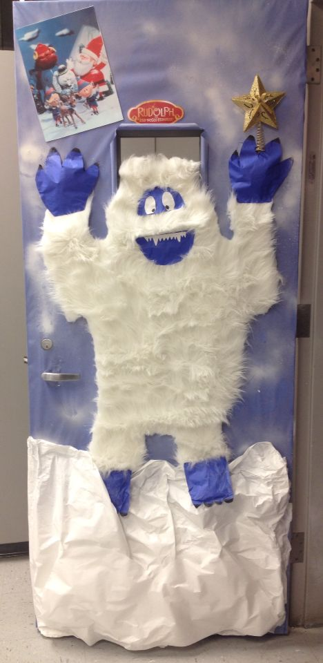Abominable snowman classroom door at school too cute for Abominable snowman holiday decoration