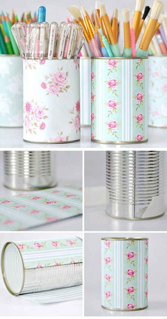 Pretty Pen Pot Storage | Click Pic for 20 DIY Small Apartment Organization Ideas for the Home | Easy Storage Ideas for Bedrooms Dollar Stores