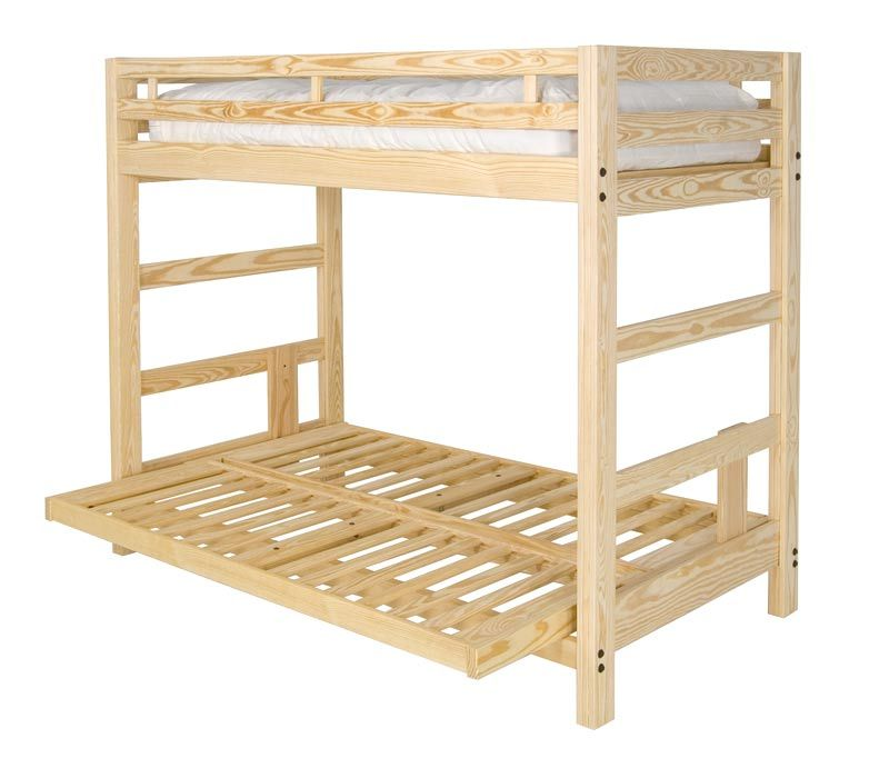 Twin XL over Full XL Futon Bunk Bed with Optional Golden Oak Finish ...
