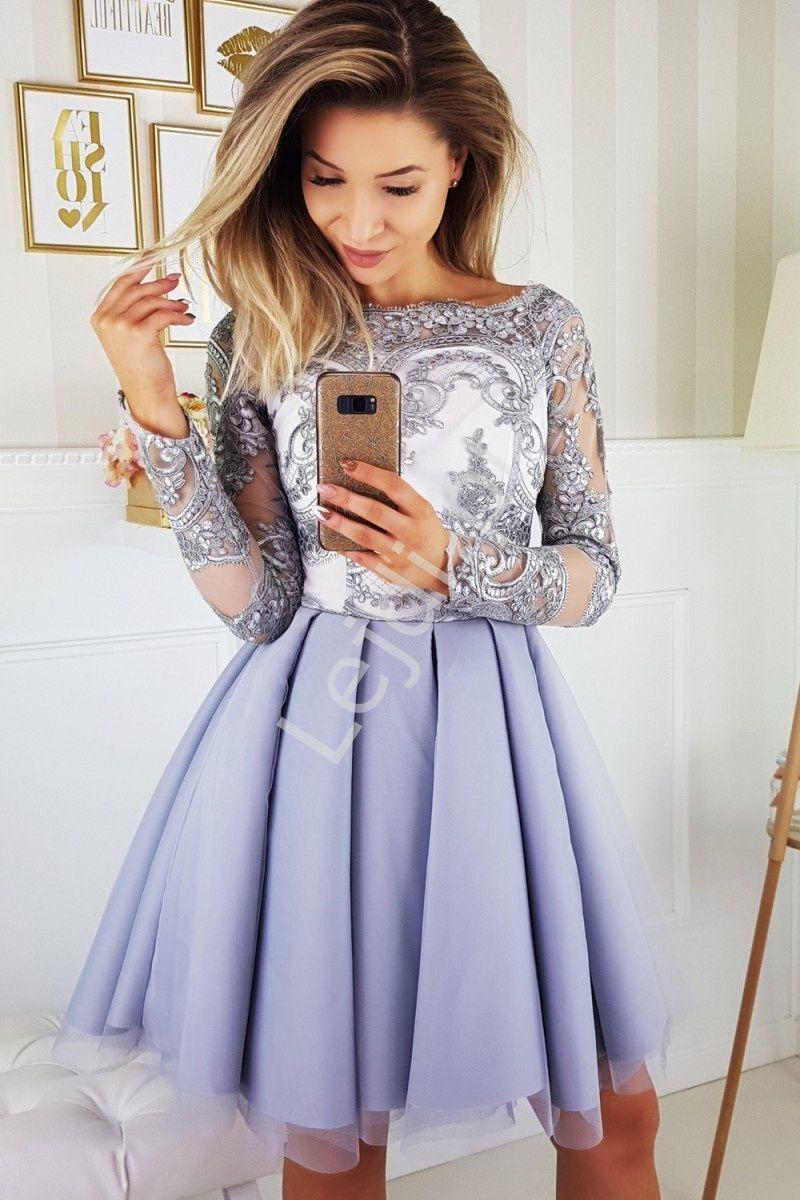 c312d5e51b0c Szara sukienka hiszpanka z koronkową górą i rękawami tiulowymi obszytymi  koronką. Elegancka szara sukienka z rozkloszowaną spónicą i dekoltem typu  carmen.