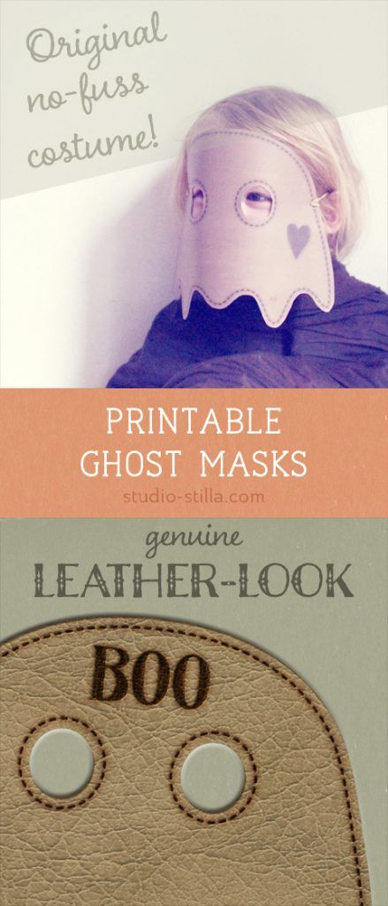Printable ghost masks for kids with a 'real leather' look  is part of Printable halloween masks, Mask for kids, Diy halloween costumes easy, Halloween crafts for kids, Halloween costumes for kids, Halloween diy crafts - Printable ghost masks for kids, with a 'leather look'  Easy & original lastminute Halloween costume for children  Find them here