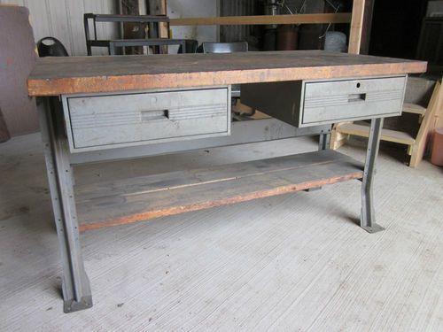 Super Vintage Machine Shop Wood Metal Industrial 2 Drawer Work Pabps2019 Chair Design Images Pabps2019Com