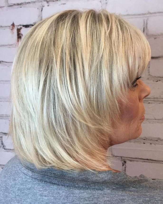 Medium Straight Feathered Blonde Shag   Hairstyles over 50 ...