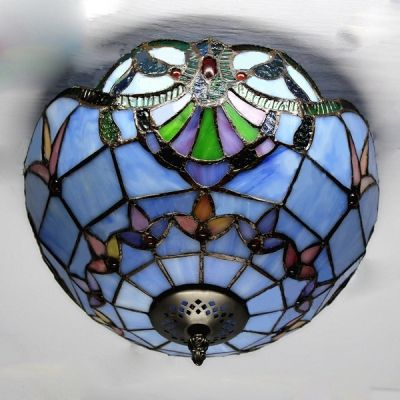 Two light baroque style blue stained glass tiffany flush mount two light baroque style blue stained glass tiffany flush mount ceiling light aloadofball Gallery