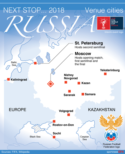 WORLDCUP-RUSSIA2018 - Venues map for the FIFA World Cup ...