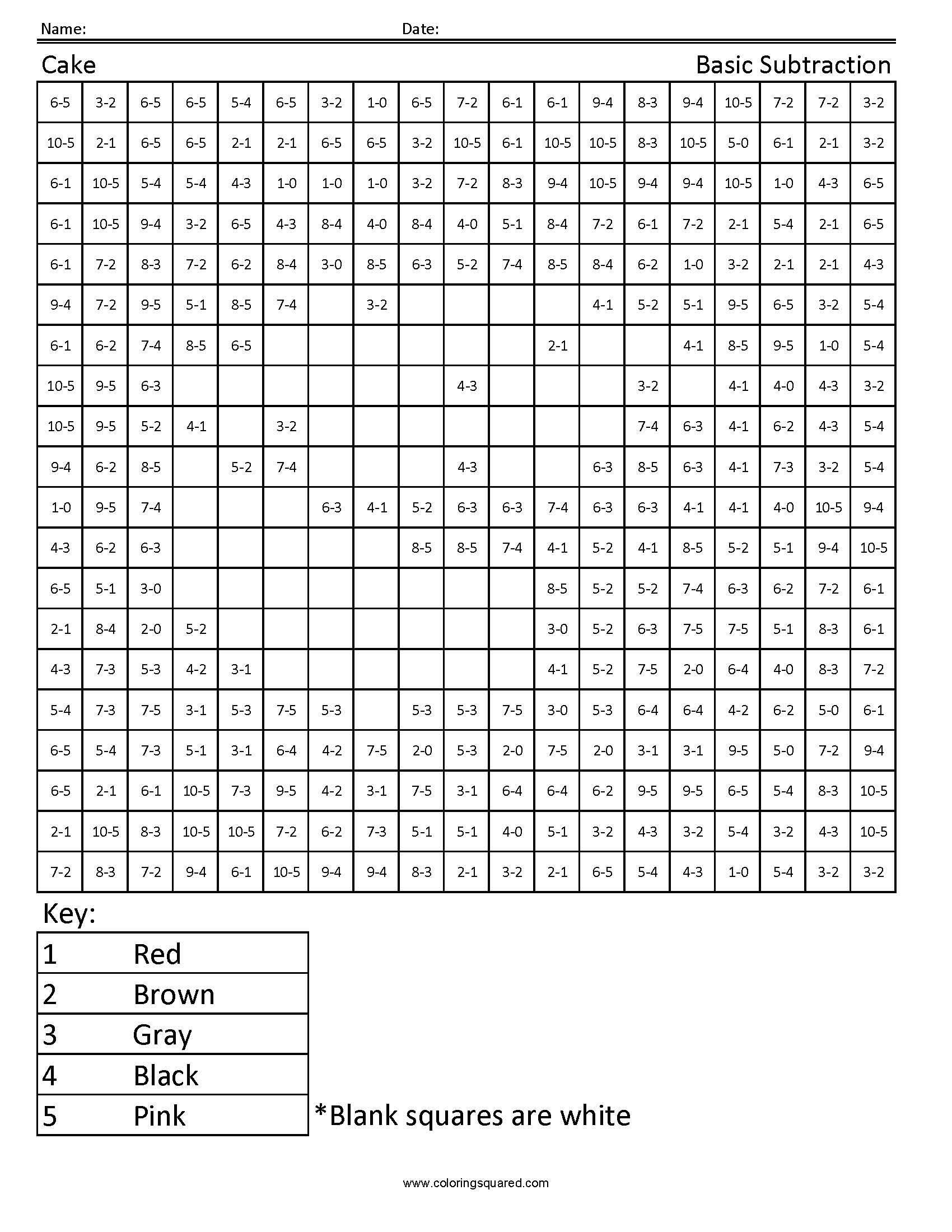 Cake Basic Subtraction Worksheet