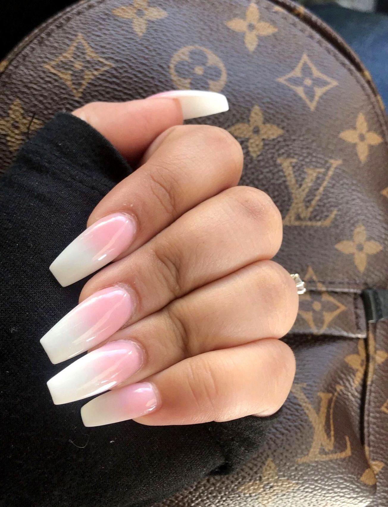 Ombre Pink And White : ombre, white, Acrylic, Nails, White, Ombre, Manicure, Trends