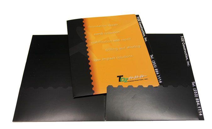 T-OZ Construction custom presentation folder Print Work - resume presentation folder