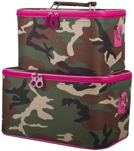 fbab33d320d Ever Moda Pink and Green Camouflage Cosmetic Makeup Train Case 2-piece --  Check out this great product.