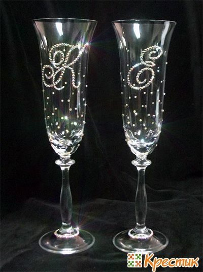 Украшаем бокалы на свадьбу фото