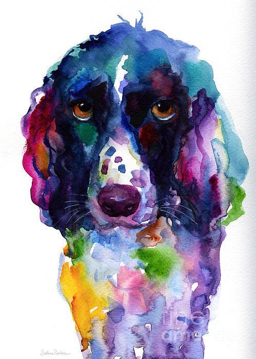 Colorful English Springer Setter Spaniel Dog Portrait Art Art