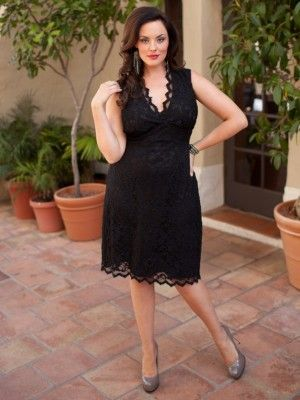 Pin Up Boudoir Lace Plus Size Dress in Black