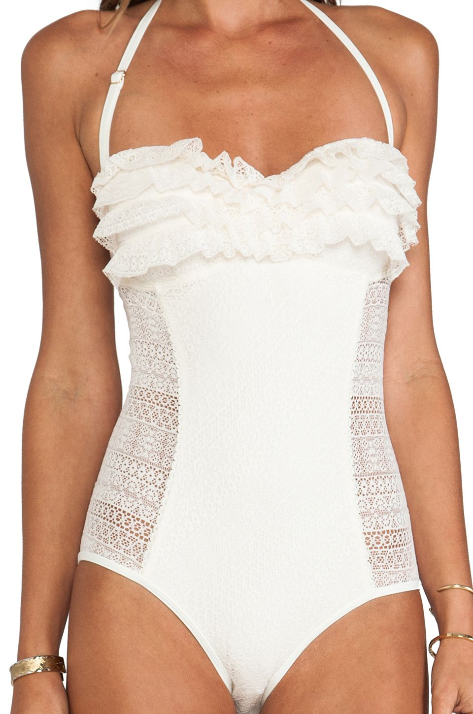 2a54601d12 Juicy Couture - Natural Ruffle Bandeau One Piece in Ivory - Lyst