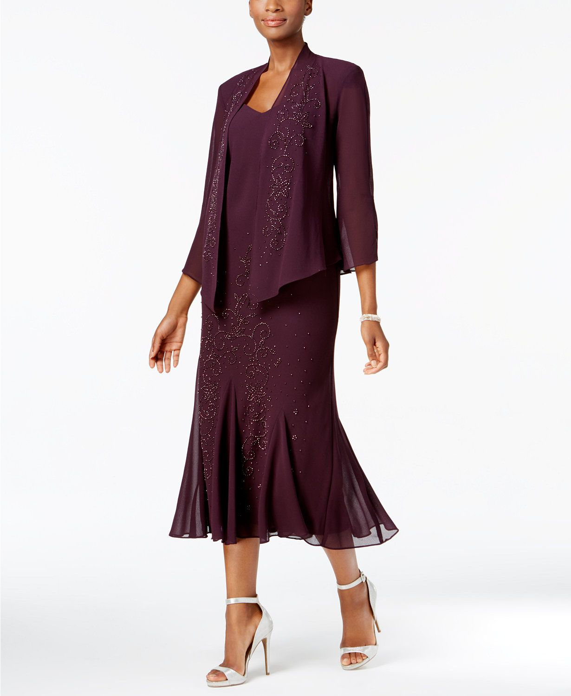 244685ef54a9 R M Richards Sleeveless Beaded V-Neck Dress and Jacket