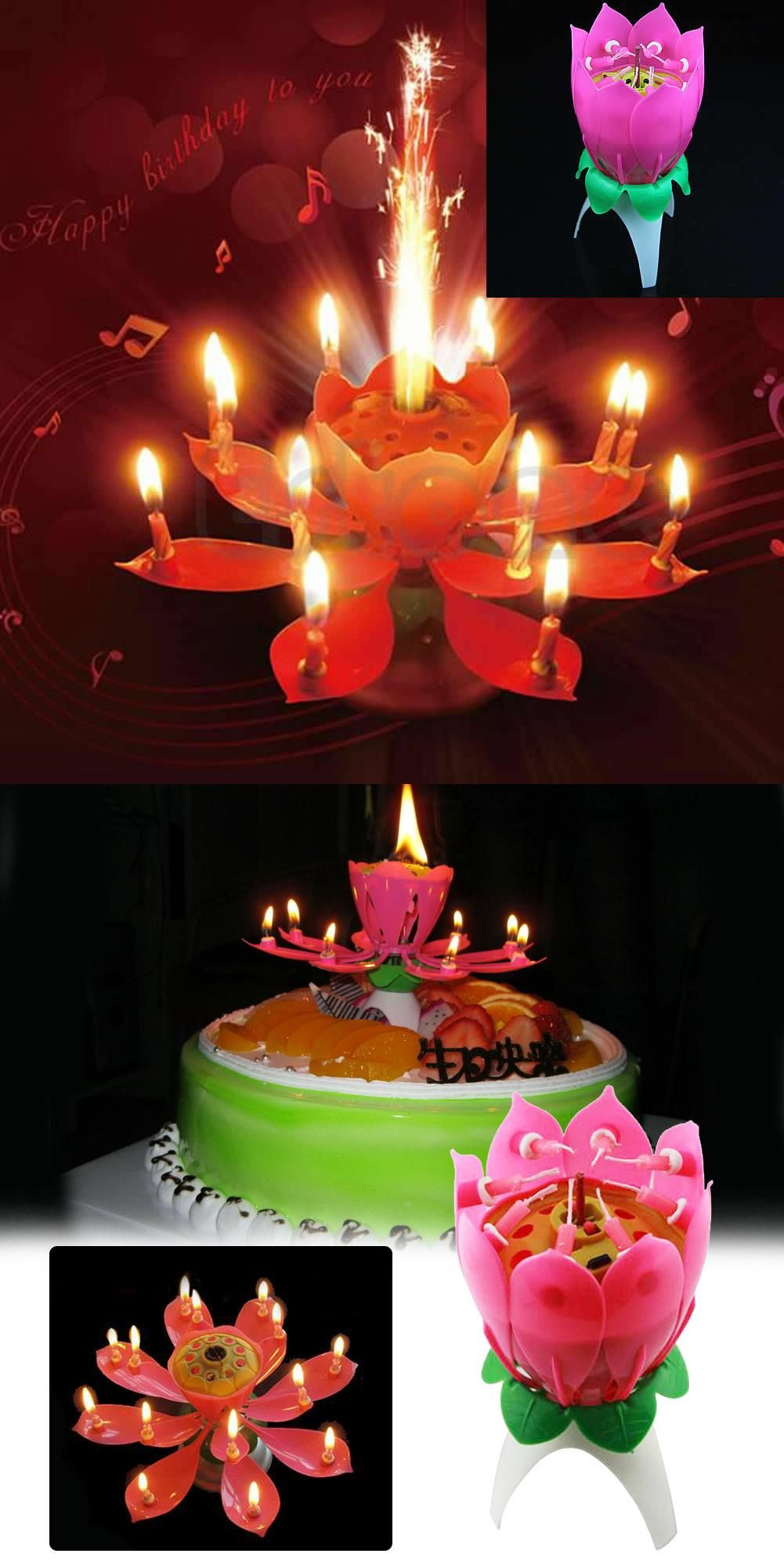 Astonishing Lotus Candle Lamp Musical Candles For Birthday Cake Party Supply Personalised Birthday Cards Veneteletsinfo