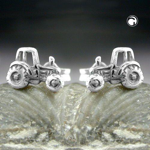 Stecker, Traktor geschwärzt, Silber 925  Verkauf paarweise  Legierung: 925/000 Silber, Sterling Silver, nickelfrei