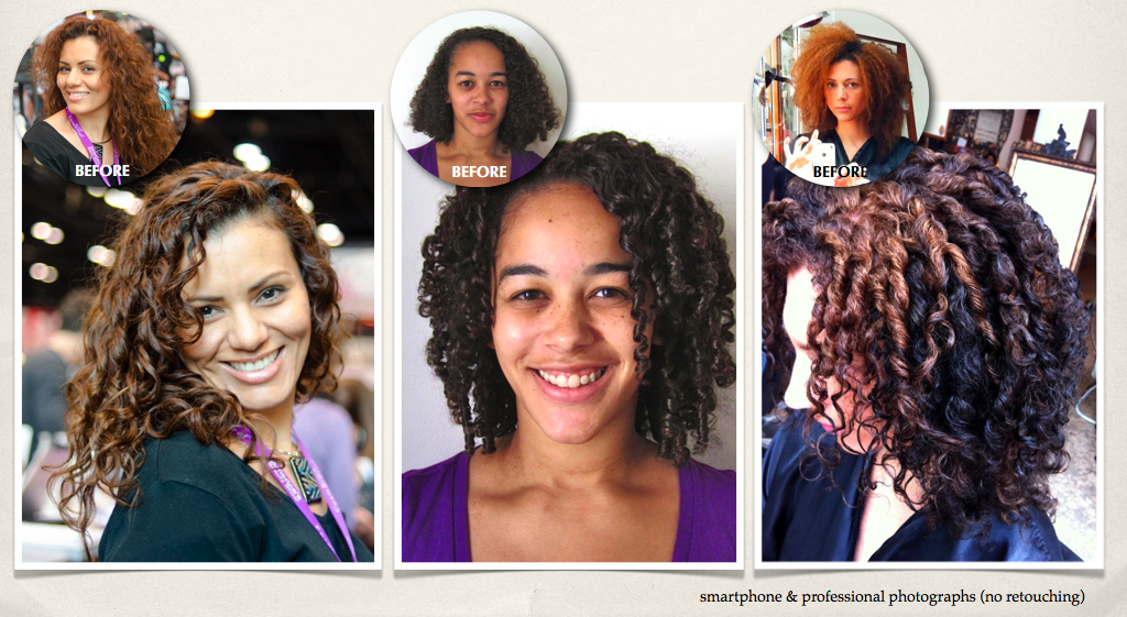 Before and afters using our Use Me! Curl Up & Shine Crème. Just Refill. Reuse. Repeat!
