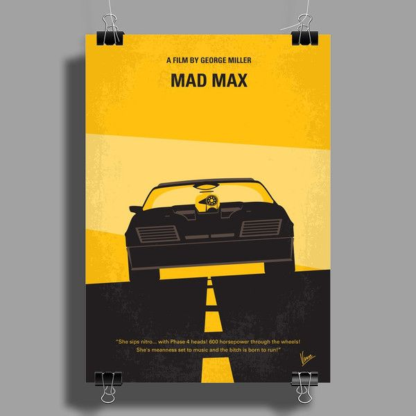 No051 My Mad Max 1 minimal movie poster Wall Art (Portrait) | Car ...