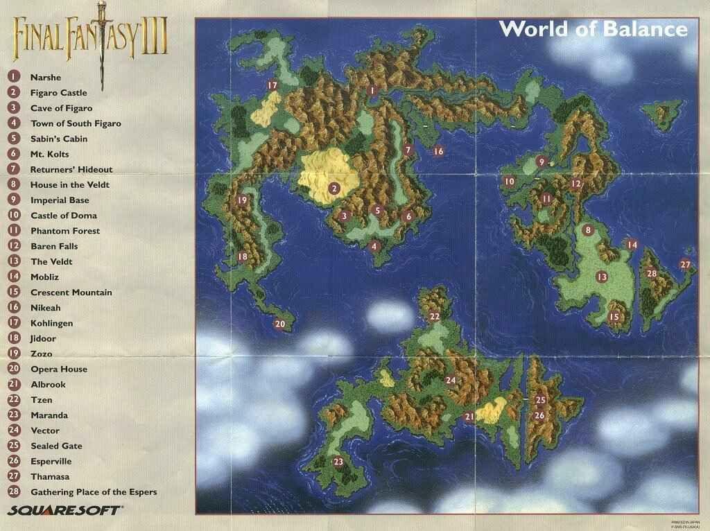 Final Fantasy 6 World Map Final Fantasy 6: Balance Map   Fantasy world map, Fantasy map
