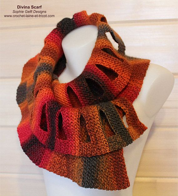 Crochet and knitting scarf pattern - Divina Scarf - pdf | Crochet ...