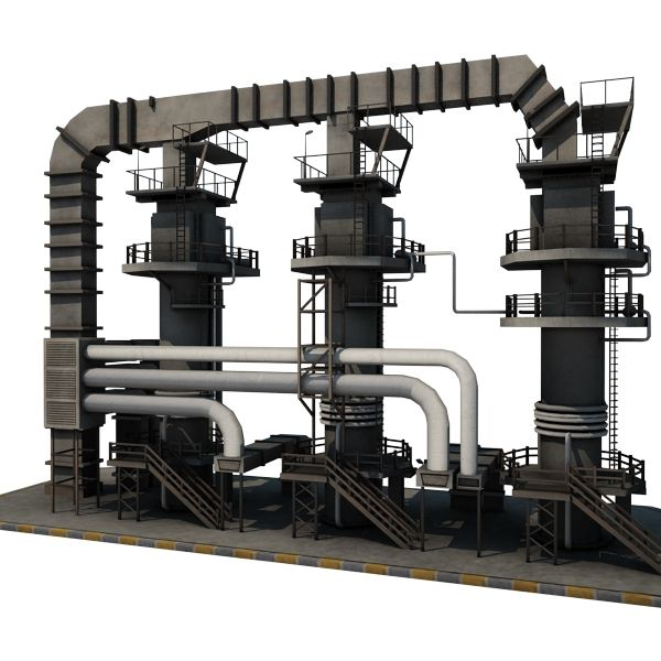 Oil Refinery 12 - game-ready 3d model by gamedev cgduck pro