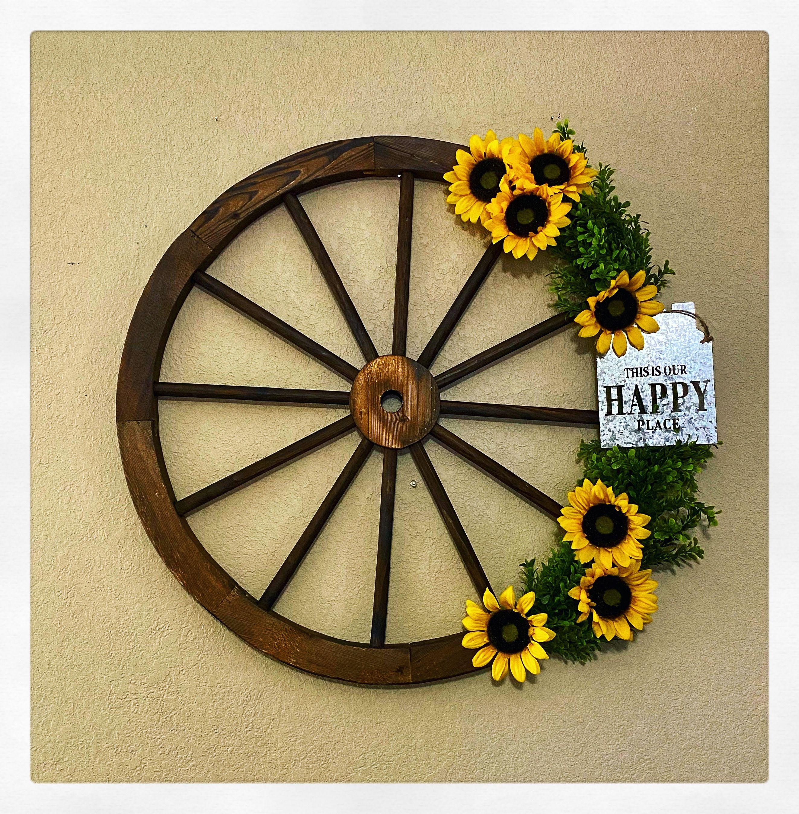 Diy Wagon Wheel Wreath Sunflower Home Decor Kitchen Wall