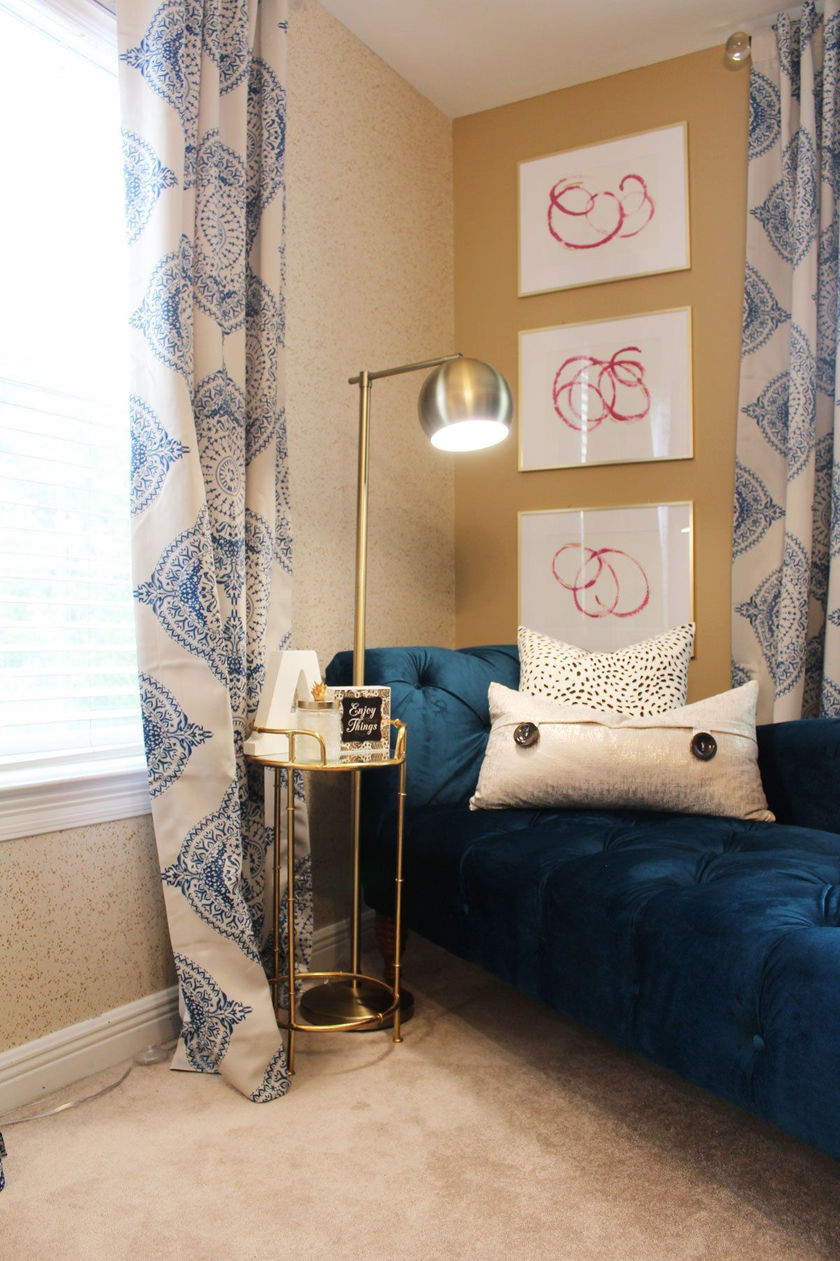 pink and blue transitional bedroom reveal  before  after