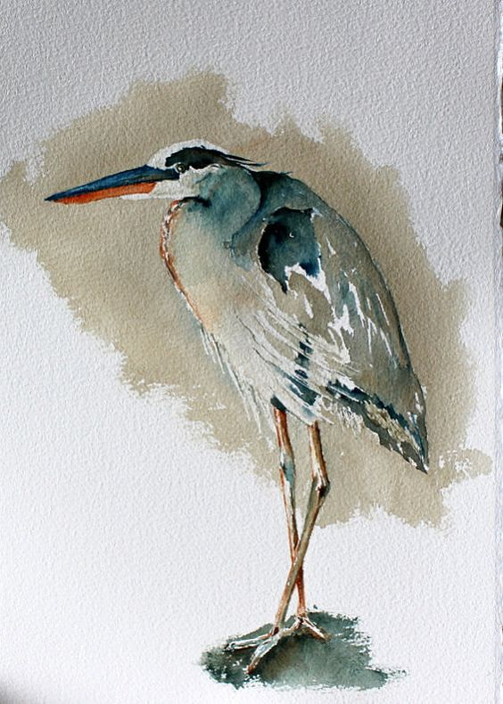 Original Watercolor Bird Painting Portrait Of A Blue Heron The
