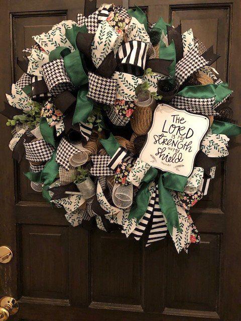 Photo of Lord is My Strength Wreath, Faith Wreath, Deco Mesh Wreath, Faith Deco Mesh Wreath, Religious Wreath, Scripture Wreath, Inspirational Wreath