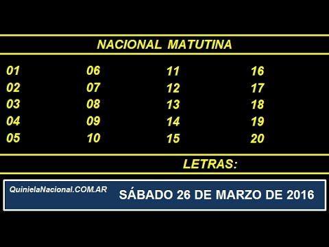 Quiniela Nacional Matutina Sabado 26 de Marzo de 2016. Fuente: http://www.quinielanacional.com.ar