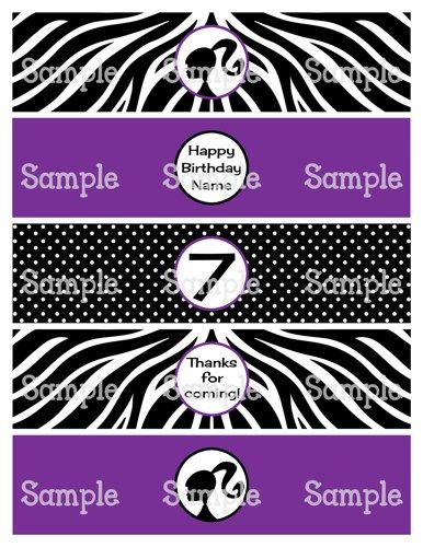 Printable Doll Black  Purple Personalized Water Bottle Labels