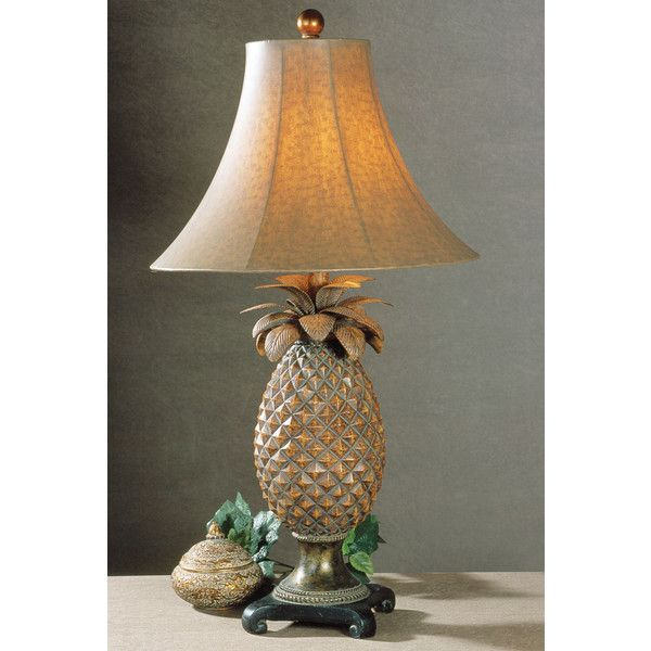 Table Lamp Pineapple Sturdy Resin Metal Bronze Finish Round Bell Shade  Vinyl New