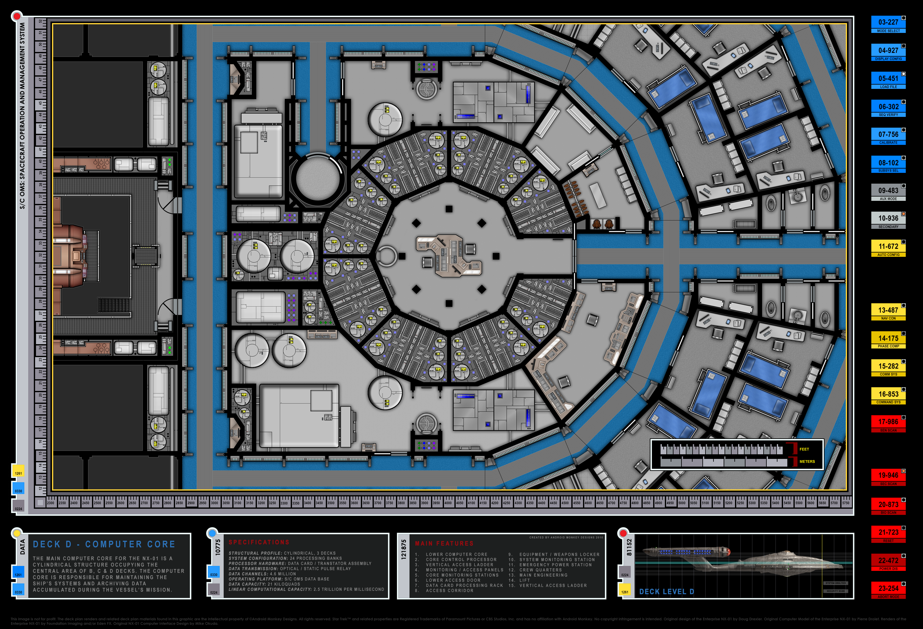 Colored Schematic Of Computer Core (lower Deck); Columbia Class Starship;  U.S.S.