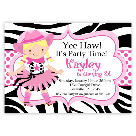 Cowgirl Birthday Invitation Hot Pink Zebra Print Polka Dot Girl
