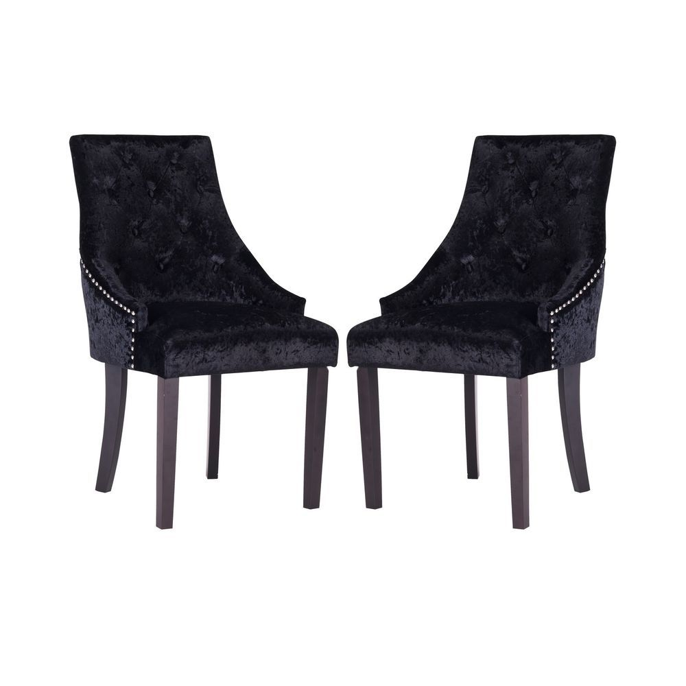 Black Dining Chairs 2 Pieces Velvet Cushioned Seat Wooden