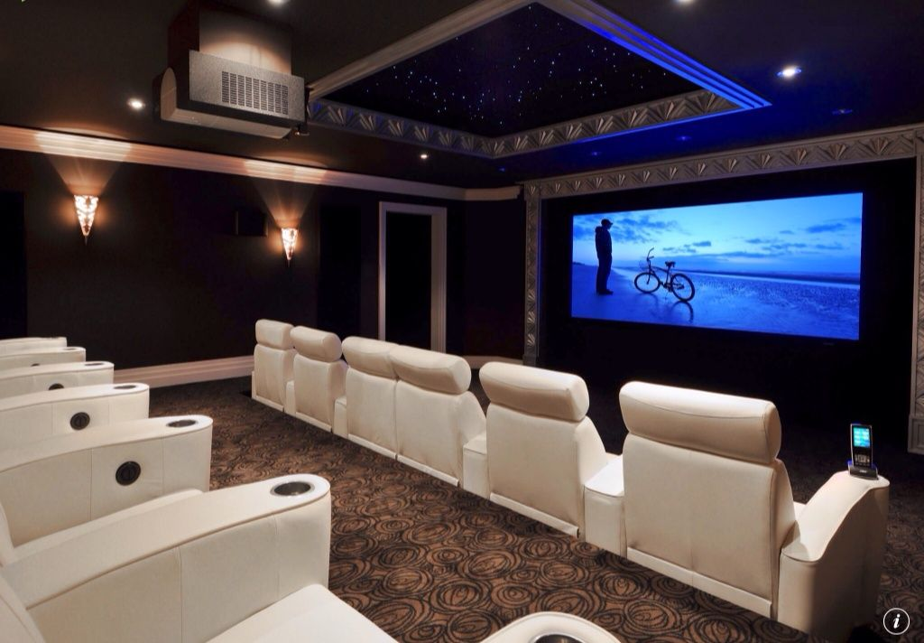 Modern Home Theater With Interior Wallpaper Wall Sconces Lighting
