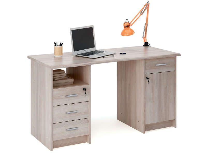 Bureau 135 Cm Chene 553919 Desk Lockable Cabinets Buy Desk