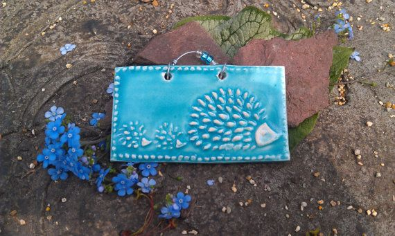 Turquoise Mini Mama Hedgehog Tile by twigcrafts on Etsy, $7.00