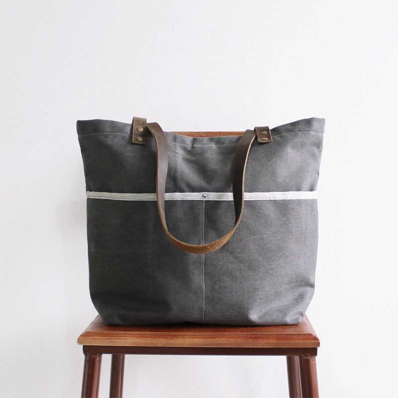 c9d35ee12f33 Handcrafted Canvas Tote Bag Women s Fashion Bag Shopping Bag 14043  --------------------------------- - 16oz waxed canvas - Cotton lining -  Inside one zipper ...