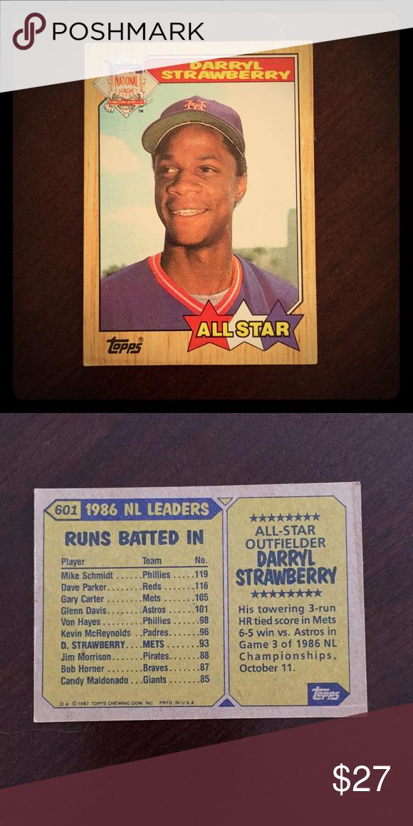 Darryl Strawberry 1986 All Star Baseball Card 601 Darryl Strawberry 1986 All Star Baseball Card 601 Great Condi Baseball Cards Baseball Baseball Card Values