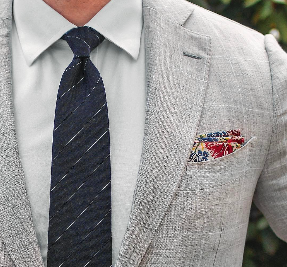 Pencil striped tie in midnight blue bowsnties styled
