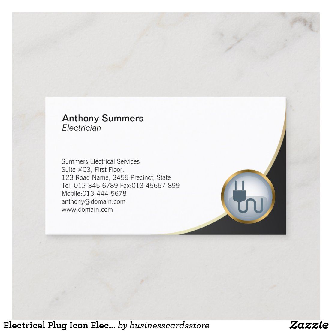 Electrical Plug Icon Electrician Business Card Zazzle Com In 2021 Electrician Electricity Plugs