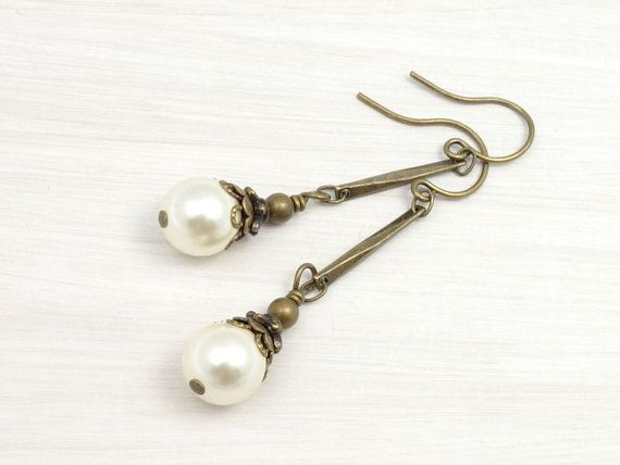 Vintage Inspired Antique Brass Pearl Earrings - Cream or Custom Color    Vintage inspired in antique brass, these dreamy pearl earrings would
